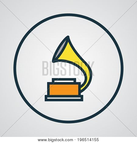 Premium Quality Isolated Gramophone Element In Trendy Style. Phonograph Colorful Outline Symbol.
