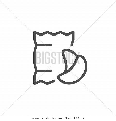 Potato chips line icon isolated on white. Vector illustration