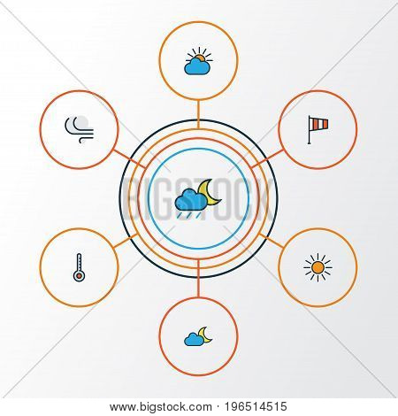 Air Colorful Outline Icons Set. Collection Of Flag, Lunar, Sunshine And Other Elements