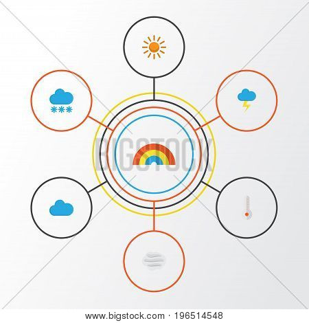 Weather Flat Icons Set. Collection Of Windy, Bow, The Flash And Other Elements