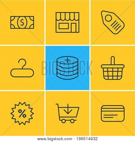 Vector Illustration Of 9 Trading Icons. Editable Pack Of Tag, Market, Pottle And Other Elements.
