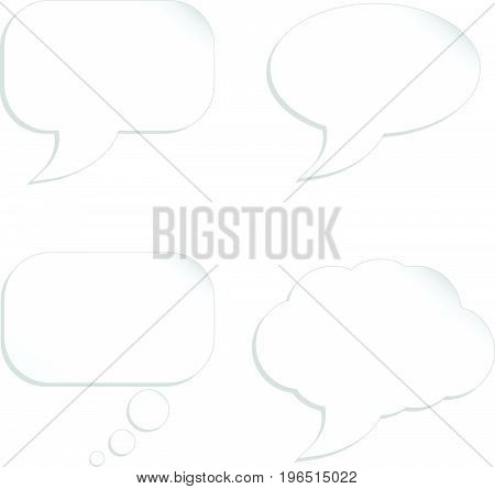 Blank cartoon bubble speech set as paper cut concept on white background