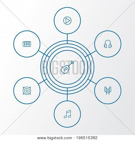 Audio Outline Icons Set. Collection Of Circle, Melody, Orator And Other Elements