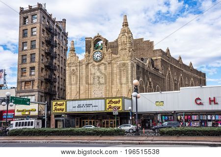JERSEY CITY NEW JERSEY - MARCH 8 - The historic Loew's Theater in Journal Square on March 8 2017 in Jersey City.