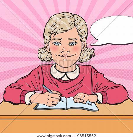 Pop Art Smiling Schoolgirl Doing Homework. Educational Concept. Vector illustration