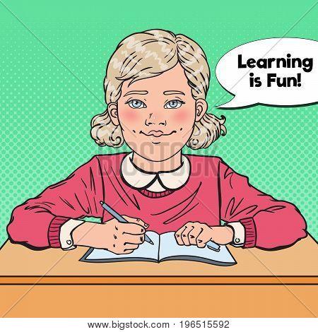 Pop Art Smiling Schoolgirl Sitting at School Desk. Educational Concept. Vector illustration