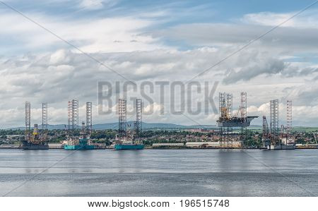 Offshore drilling platform in repair in shipyard in Dundee lRiver.