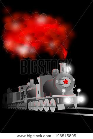Vector locomotive with soldier and red star. Communistic illustration on the black background
