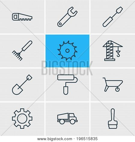 Editable Pack Of Paintbrush, Harrow, Circle Blade And Other Elements. Vector Illustration Of 12 Construction Icons.