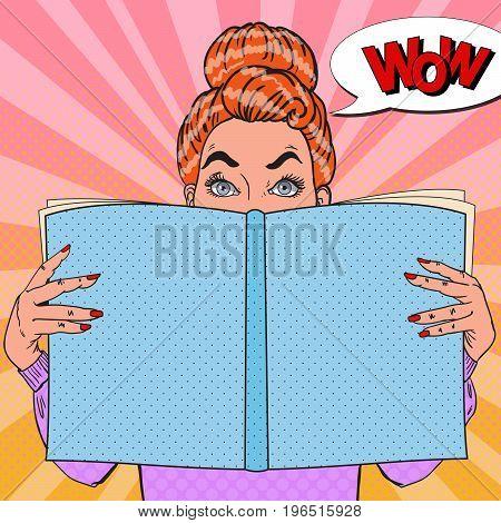 Pop Art Amazed Woman Reading Book. Educational Concept. Vector illustration