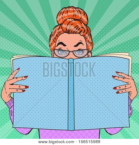 Pop Art Surprised Woman Holding Book. Educational Concept. Vector illustration