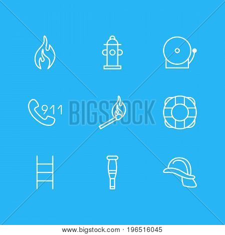 Vector Illustration Of 9 Necessity Icons. Editable Pack Of Fire, Hotline, Siren And Other Elements.