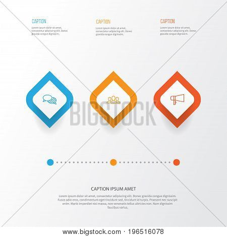Communication Icons Set. Collection Of Speaking, Society, Bullhorn And Other Elements