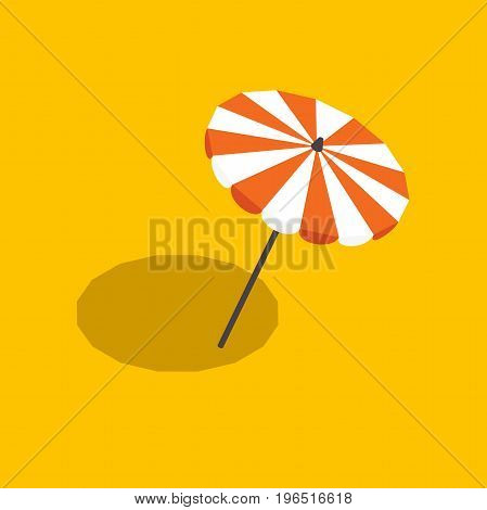 beach umbrella with shadow. striped beach umbrella isolated, vector illustration in a flat style, isometric opened a beach umbrella on a yellow background with shadow
