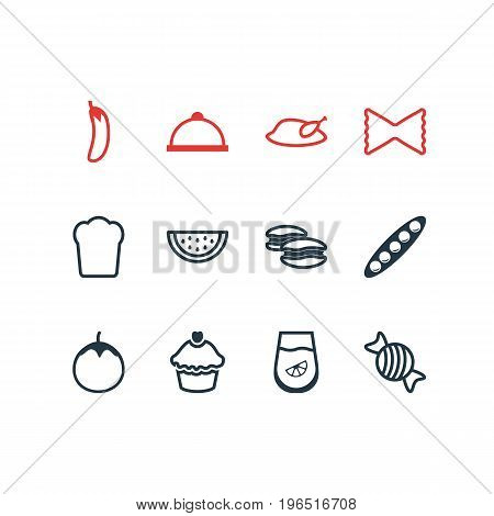 Editable Pack Of Biscuit, Muffin, Aubergine And Other Elements. Vector Illustration Of 12 Meal Icons.