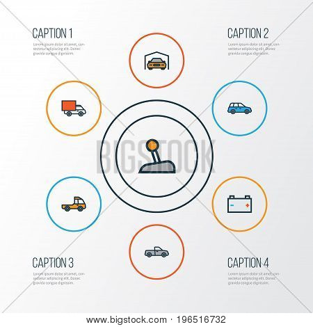 Auto Colorful Outline Icons Set. Collection Of Sedan, Pickup, Level And Other Elements