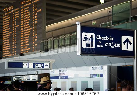 ROME, ITALY - June 18, 2017: Terminal hall in Fiumicino Airport on June 18, 2017 in Rome. With 37.6 million passengers, Rome Fiumicino is the 7th busiest in Europe.