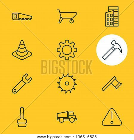 Vector Illustration Of 12 Construction Icons. Editable Pack Of Cogwheel, Paintbrush, Hacksaw And Other Elements.