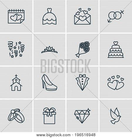 Editable Pack Of Decoration, Bridal Bouquet, Brilliant And Other Elements. Vector Illustration Of 16 Marriage Icons.