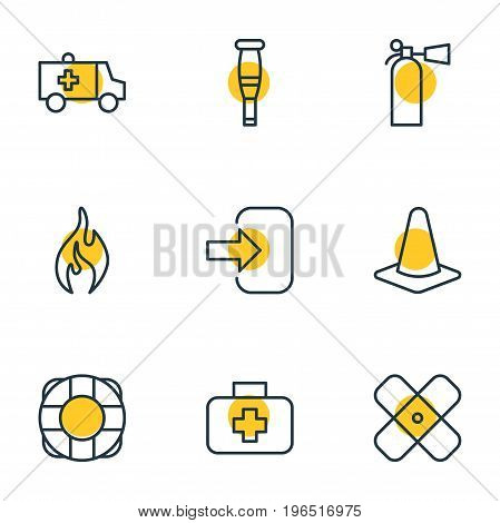 Editable Pack Of Lifesaver, Spike, Door And Other Elements. Vector Illustration Of 9 Emergency Icons.