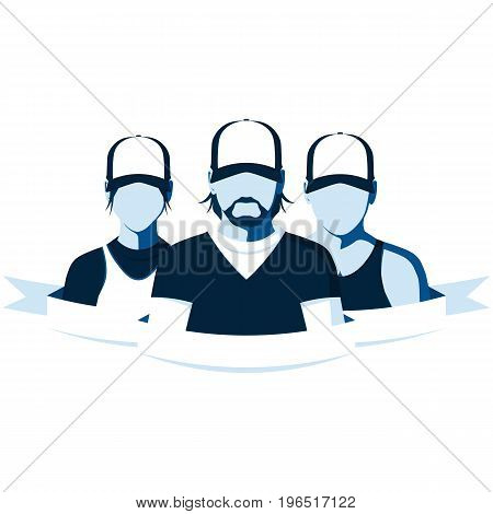 Group of sports people on white background. Silhouette of coach, sportsman and sportswoman. Sports team flat vector illustration.