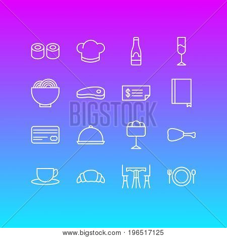 Vector Illustration Of 16 Restaurant Icons. Editable Pack Of Account, Wine, Sundae And Other Elements.