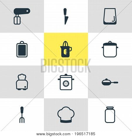 Editable Pack Of Pan, Chef Hat, Whisk And Other Elements. Vector Illustration Of 12 Restaurant Icons.