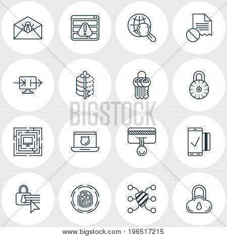 Vector Illustration Of 16 Protection Icons. Editable Pack Of Safety Key, Safeguard, Safe Storage And Other Elements.