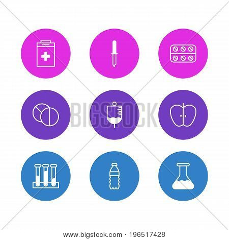Editable Pack Of Fresh Fruit, Exigency, Plastic Bottle And Other Elements. Vector Illustration Of 9 Medical Icons.