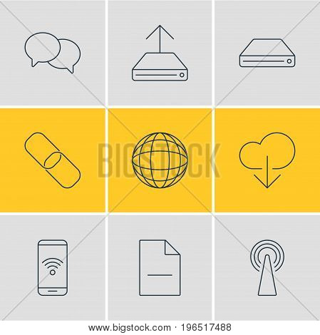 Editable Pack Of Hard Drive Disk, Chain, Removing File And Other Elements. Vector Illustration Of 9 Web Icons.