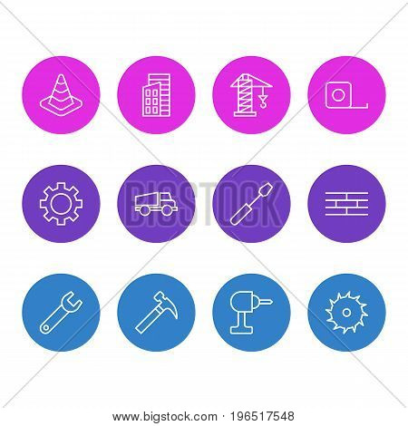 Vector Illustration Of 12 Structure Icons. Editable Pack Of Spanner, Lifting, Apartment And Other Elements.