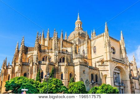 Segovia Spain.Catedral de Santa Maria de Segovia in the historic city of Segovia Castilla y Leon Spain.