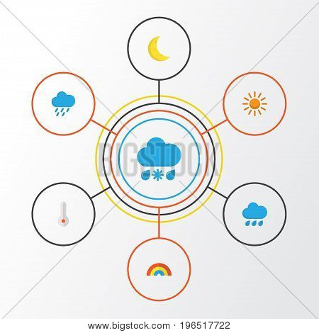 Climate Flat Icons Set. Collection Of Sun, Rain, Temperature And Other Elements
