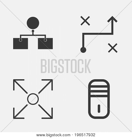 Machine Icons Set. Collection Of Branching Program, Solution, Analysis Diagram And Other Elements