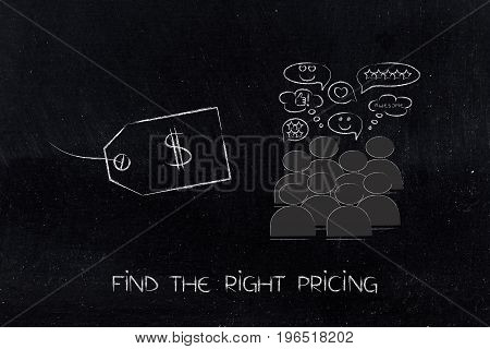 Price Tag Next To Group Of Customers With Positive Reactions