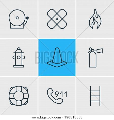 Vector Illustration Of 9 Necessity Icons. Editable Pack Of Safety, Stairs, Water And Other Elements.