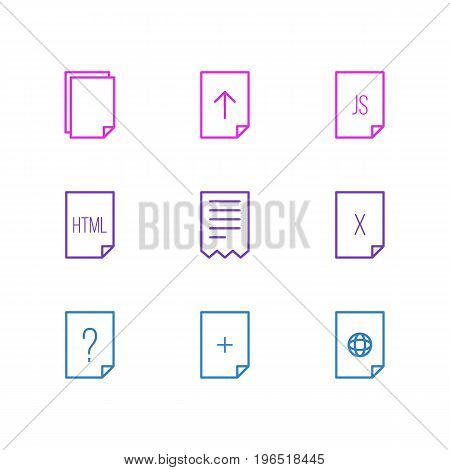 Editable Pack Of Question, Internet, Folder And Other Elements. Vector Illustration Of 9 File Icons.