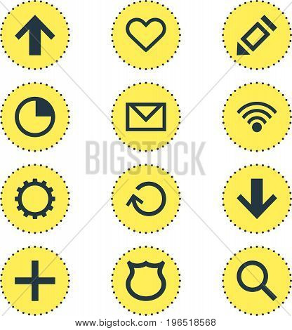 Vector Illustration Of 12 User Icons. Editable Pack Of Top, Stopwatch, Letter And Other Elements.
