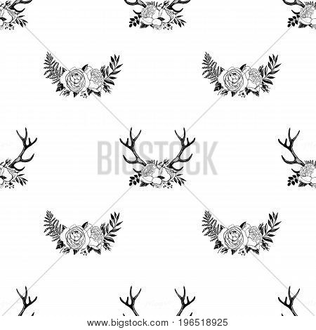Seamless summer boho tribal fashion pattern with decorative floral deer antlers vector background perfect for wallpaper, pattern fill, web page, textile. Horns and floral roses crown Black line