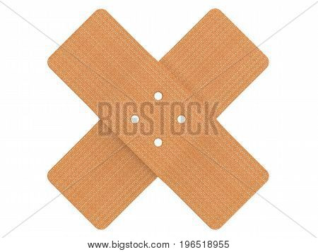 Medical first aid plaster isolated on white background 3D rendering