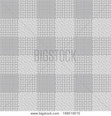 Vector seamless pattern. Modern stylish texture with intersecting thin zigzag lines which form regularly repeating original checkered linear grid with zigzag lines squared lattices strips.