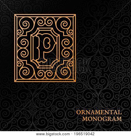 Flourishes luxury elegant ornamental monogram template with letter P in trendy linear style. Vector illustration.