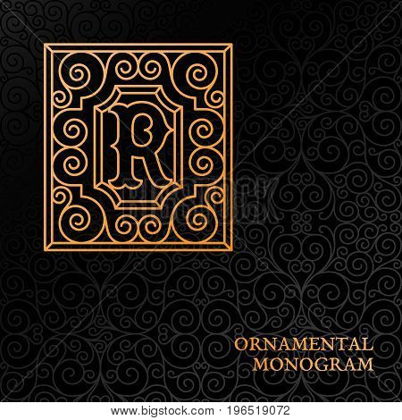 Flourishes luxury elegant ornamental monogram template with letter R in trendy linear style. Vector illustration.