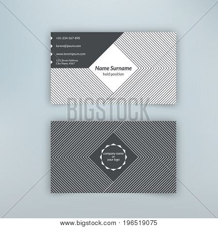 Business card blank template with textured background from corner thin lines. Minimal elegant vector design