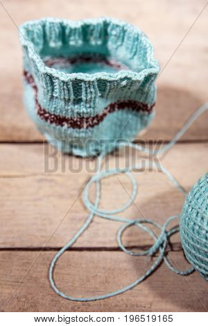 Workshop Crochet And Knitting, Blue Cup Warmer And Yarn
