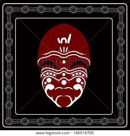 Aboriginal mask. Illustration based on aboriginal style of dot painting.