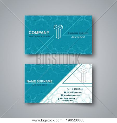 Template of the empty business card on a gray background. The card with a pattern with a realistic shadow. Vector illustration.