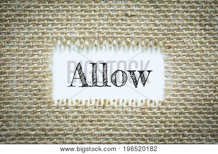 Text Allow on paper white has Cotton yarn background you can apply to your product.