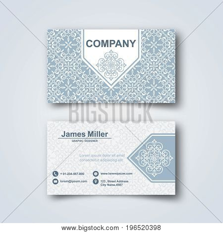 Template of the blank business card on a gray background.Card with the Arab pattern with a realistic shadow. Vector illustration.