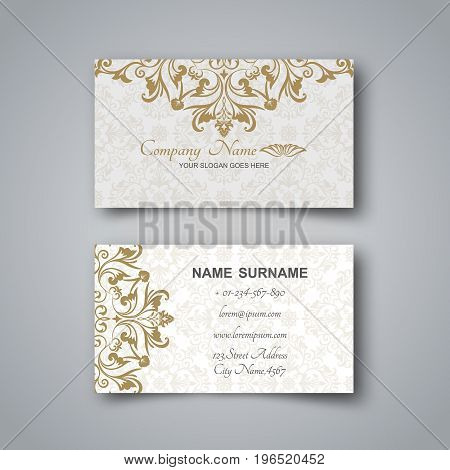 Template of the blank business card on a gray background.Card with the Arab ornament and a realistic shadow. Vector illustration.